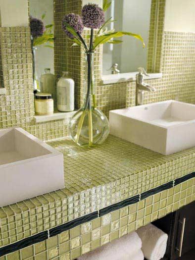 Tile Countertop Bathroom